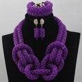Indio Nupcial Collar de La Joyería de la Turquesa Púrpura Nigeriano Boda Africana Joyería de Los Granos Cristalinos Del Traje Libera la Nave ALJ874