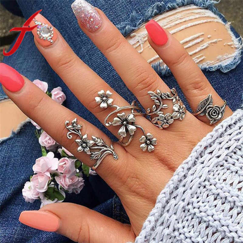 Vintage Rose Flower Rings Set for Women Girl Bohemia Antique Silver Color Midi Rings Set Floral Knuckle Ring Fashion Jewelry