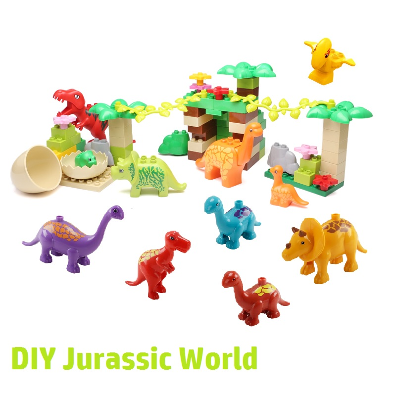 Dinosaur Set Accessories DIY Big Building Blocks Jurassic World Classic Animal Model Compatible with Duplo Bricks Baby Toys gift 2 sets jurassic world tyrannosaurus building blocks jurrassic dinosaur figures bricks compatible legoinglys zoo toy for kids