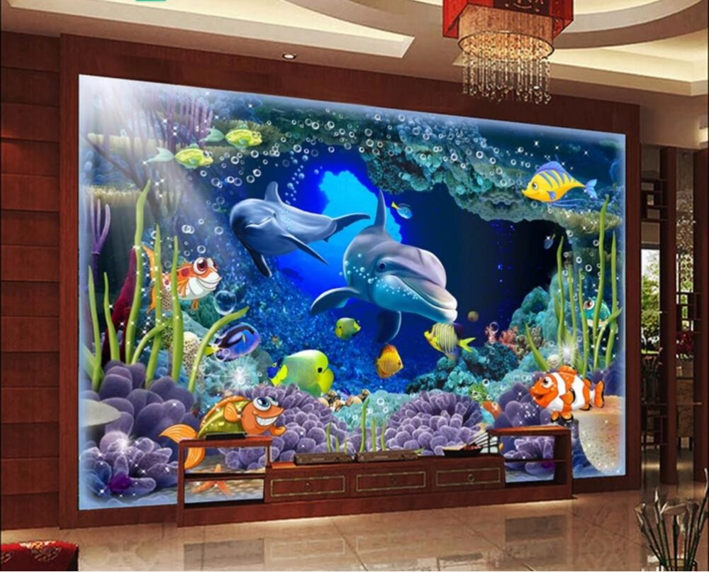 3d wallpaper custom mural wall cloth Sea world cave dolphin background wall wallpaper for walls 3 d photo wallpaper on a wall brushed fabric wall hangings sea world dolphin tapestry