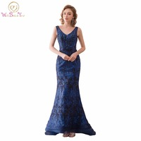 Walk Beside You Sexy Sequined Celebrity Dresses Long V Neck Mermaid Lace Applique Dark Blue Formal