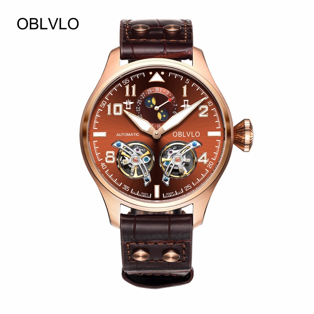OBLVLO Sport Watches for Men Complete Calendar Brown Dial Automatic Watches Tourbillon Pilot Watches OBL8232OBLVLO Sport Watches for Men Complete Calendar Brown Dial Automatic Watches Tourbillon Pilot Watches OBL8232