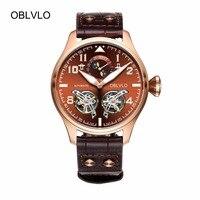 Oblvlo спортивные часы для мужчин полный календарь коричневый циферблат автоматические часы с турбийоном Pilot часы OBL8232