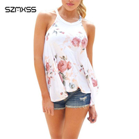SZMXSS New Summer Style Women Sexy Tops Halter Neck Floral Vest Sleeveless Casual Tank Tops Irregular