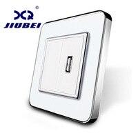Jiubei White Crystal Glass Panel One Gang USB Plug Socket Wall Outlet SV C701U 11
