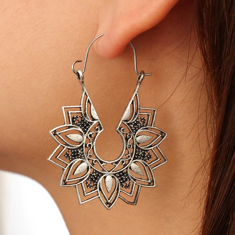 Nine Design Vintage Flower Drop Earrings For Women Antique Silver Color Bohemian Big Dangle Earrings 2018 Oorbellen Jewelry(China)