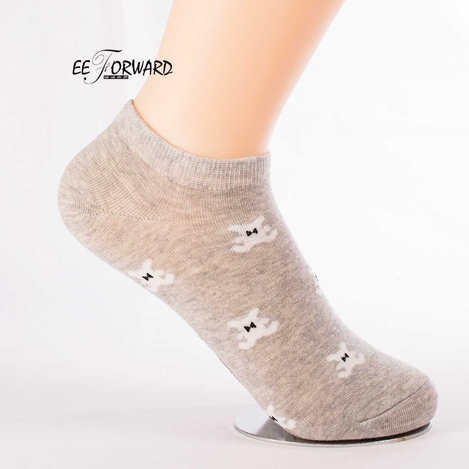 Короткие носки Для женщин хлопок новинка 2017 года принт животных Медвежонок с