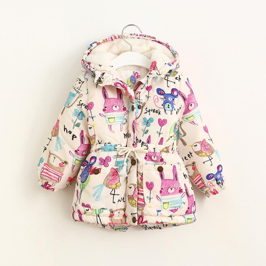 2016 Girls Winter Coats Graffiti Girls Parkas Hooded Baby Girl Outerwear Cute Lovely Cartoon Printed Girls