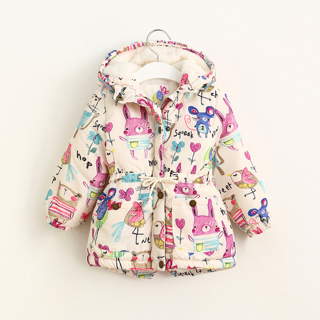 2016 Girls Winter Coats Graffiti Girls Parkas Hooded Baby Girl Outerwear Cute Lovely Cartoon Printed Girls Winter Jackets 2-8Y