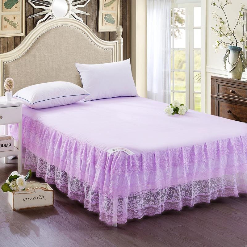 High Quality Fashion Hot Polyester Fiber Purple Bed Skirt 200x220cm Multi Size Optional