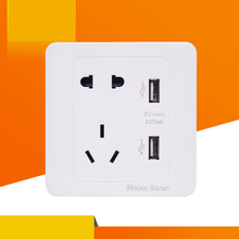 купить 5 Hole Socket 2.1A Dual USB Wall Socket Charger AC/DC Power Adapter Plug Outlet Panel Quick Charging With Indicator 5V 86*86MM дешево