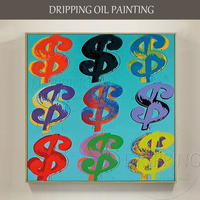 Funny Design Artist Hand painted Abstract Many Money Oil Painting American Money Dollar Oil Painting for Friend Unique Gift