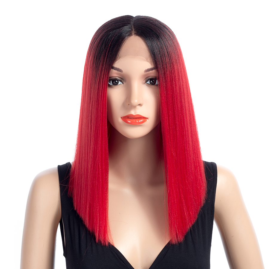 Bling Hair Ombre Short Straight Kanekalon Synthetic Lace Front Wigs for Women With Naturally Hairline Shoulder Length 16inch