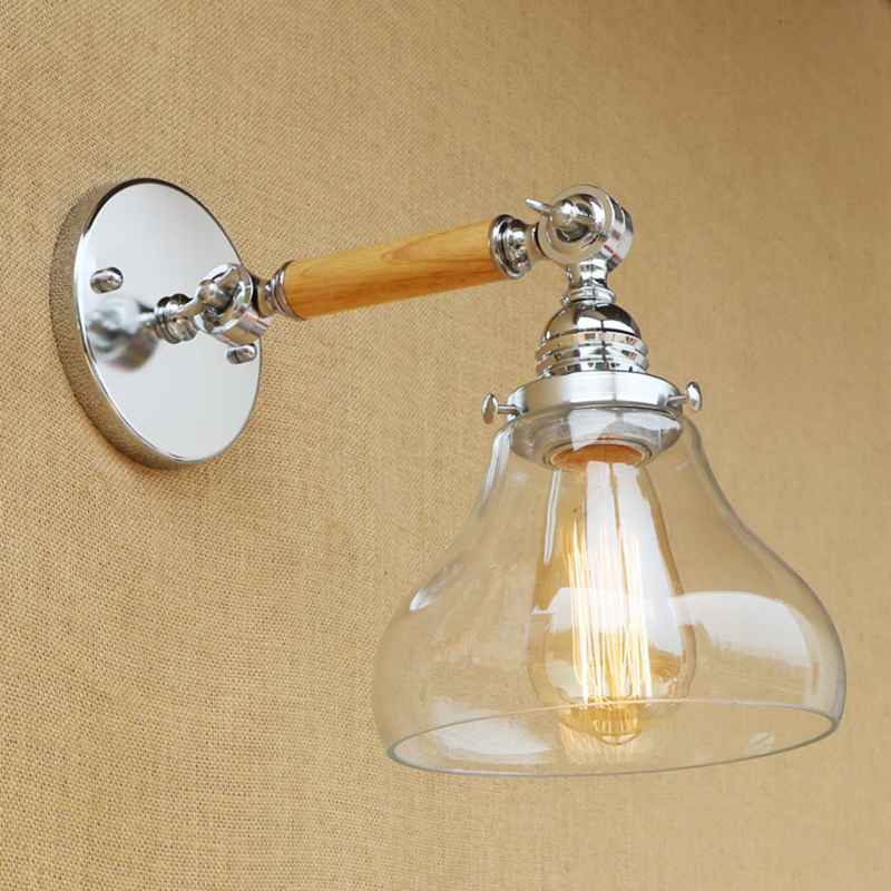 Retro small Wall lamp glass lampshade free adjust wood single swing arm Edison E27 sconc for