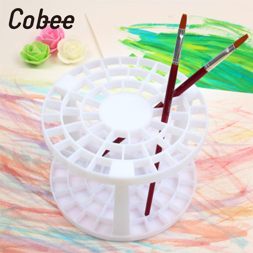 Cobee 49 Holes Paint Brush Pen Holder Stand Brush Pencil Storage Rack Organizer Round Painting Supplies Drawing School Supplies