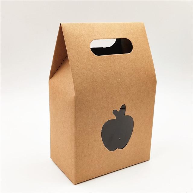 30 adet/grup hediye keseleri Kraft Kağıt Küçük PVC Pencere El Yapımı Hediyelik Eşya Ambalaj Kahverengi Karton Kutu Apple Kalp 10x6x16cm