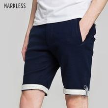 Markless хлопок льняные шорты Для мужчин свободные Повседневное Cool дышащий бермуды masculina летние тонкие пляжные Для мужчин s шорты DKA6915M