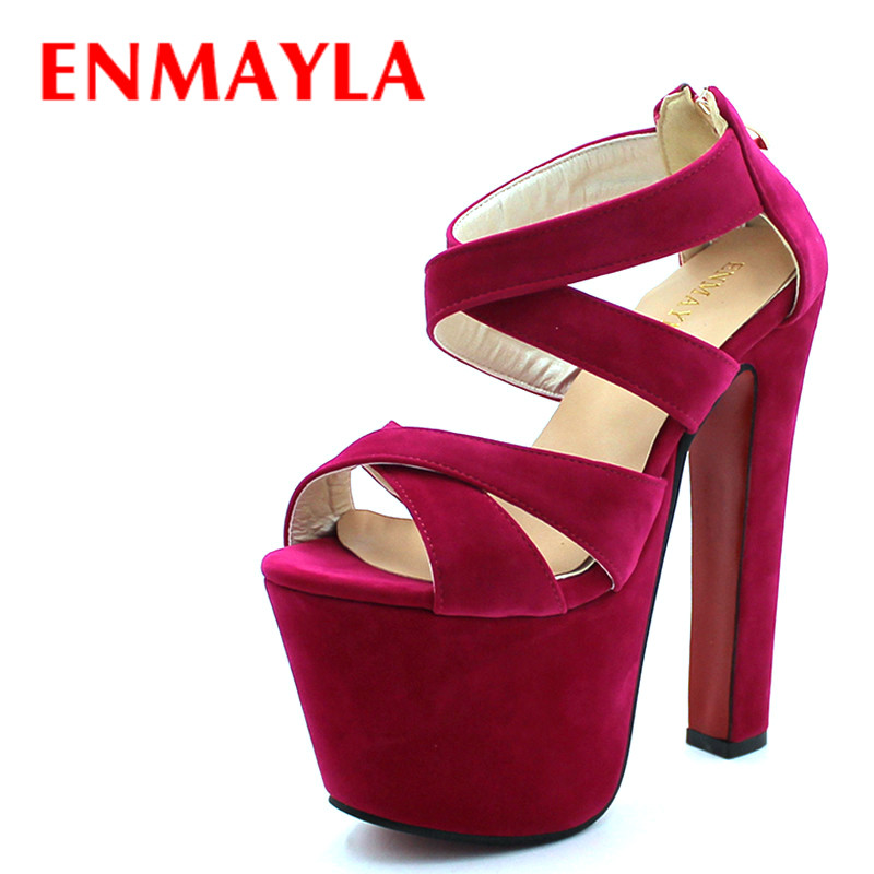 ENMAYLA Zomer Dames Gladiator Sandalen Dames 17cm Super Hoge hak Platform Sandalen Pumps Open Teen Party Trouwschoenen Dames
