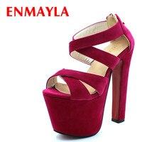 ENMAYLA Summer Ladies Gladiator Sandals Women 17cm Super High Heel Platform Sandals Pumps Open Toe Party Wedding Shoes Woman