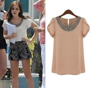Moda Verão 2014 - Camisa Feminina Larga de Seda Ornada com Miçangas, Camisetas que Combinam com Tudo para Mulheres com Gola O, Tamanhos Grandes S-XXL T888A5