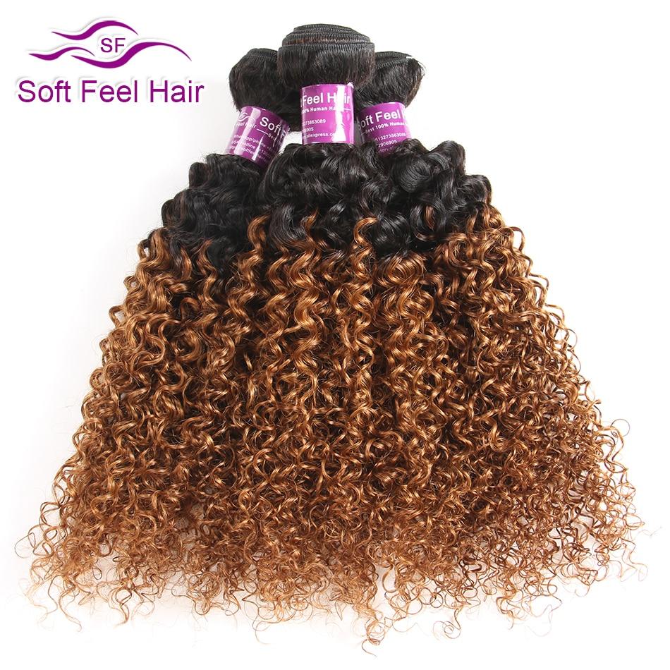 Soft Feel Hair Ombre Peruvian Kinky Curly Hair Bundles 1B 30 Ombre Human Hair 3 4
