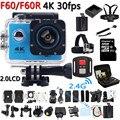 4 K Câmera de Ação Original F60/F60R Wi-fi Remoto 2.0 LCD 170D Len Capacete Cam ir pro Câmara de Vídeo À Prova D' Água Debaixo D' Água P @ 60fps