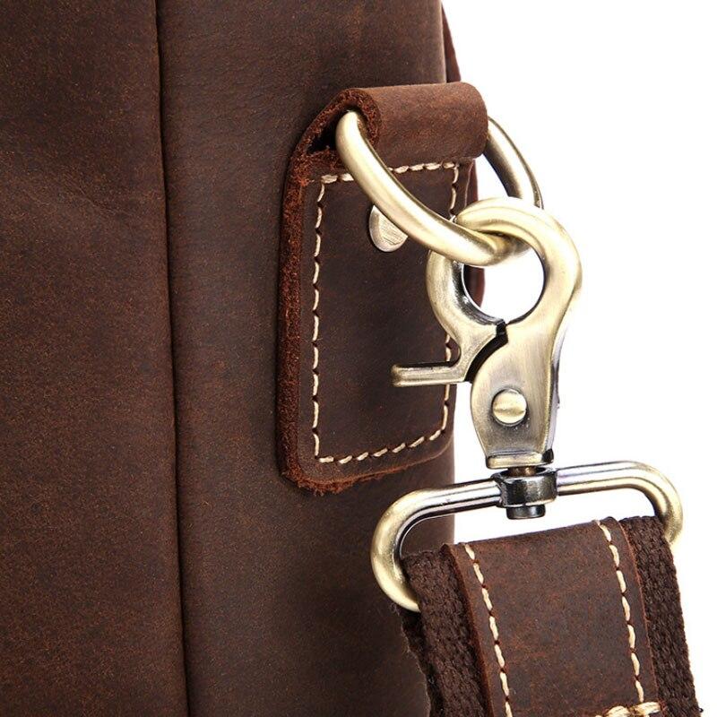Laptop Bag Aktentasche Echtes 14 Brown Umhängetasche Zoll Crazy 0202 Leder Mann Crossbody Horse Tote Portfolio Marke Männer Dark Für Vintage XCqwvq6