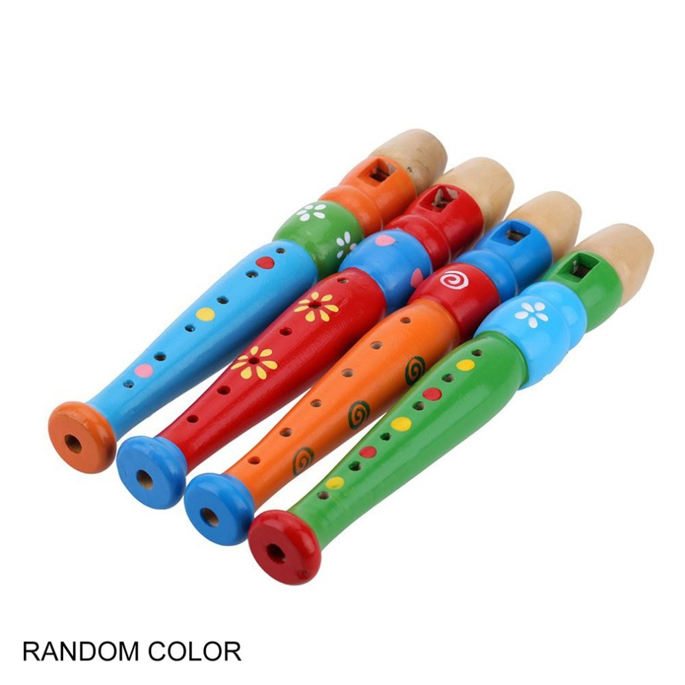 6 Holes Portable Wooden Piccolo Flute Sound Musical Instrument Early Education Toy Gift For Baby Kid Children