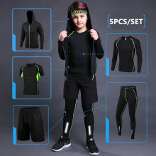 Enfants Sport ensemble de course 2019 hommes Sport costume Jogging basket-ball sous-vêtements vêtements de Sport collants de gymnastique football survêtement vêtements d'entraînement(China)