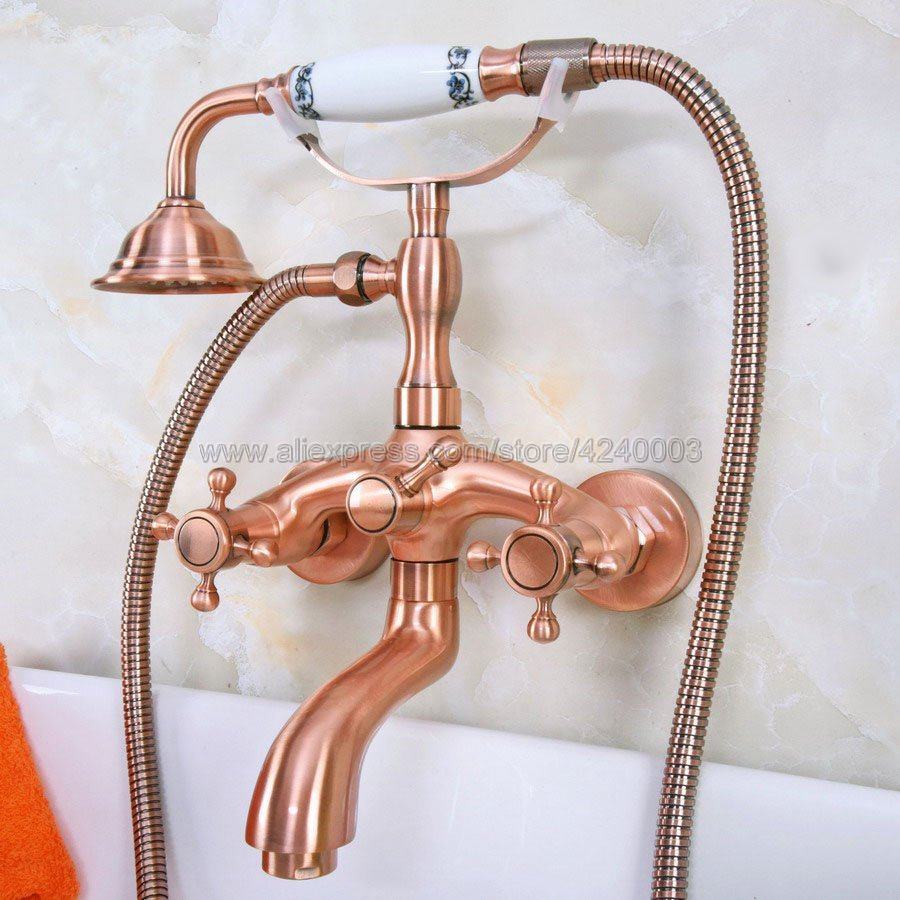 Bathtub Faucets Red Copper Antique Shower Faucets Dual Handle Wall Mounted Bath And Shower Faucet With Handheld Showers Kna322Bathtub Faucets Red Copper Antique Shower Faucets Dual Handle Wall Mounted Bath And Shower Faucet With Handheld Showers Kna322