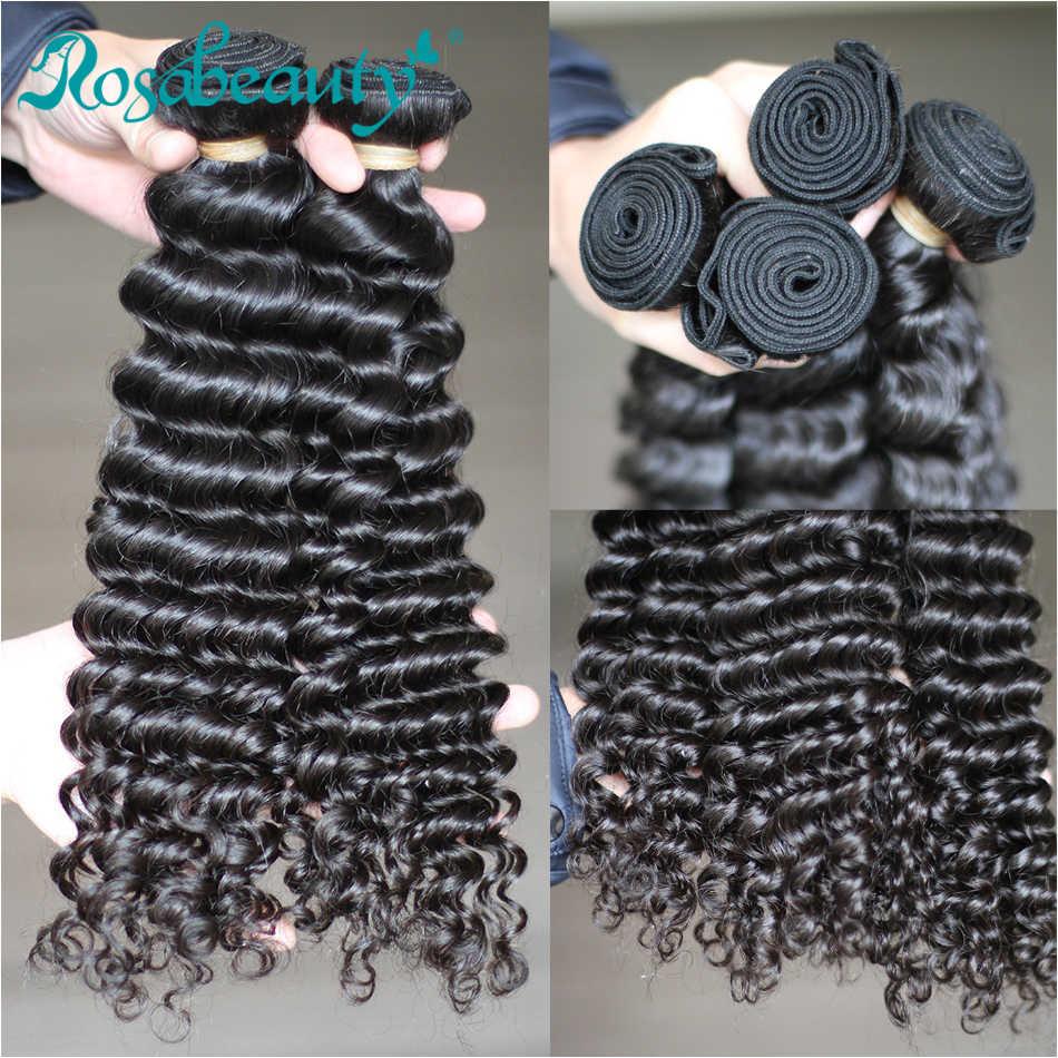 Grado 10A rizado malayo paquetes de armadura del pelo 3 unids/lote Rosabeauty humano de la onda profunda de la Virgen extensiones de cabello envío gratis