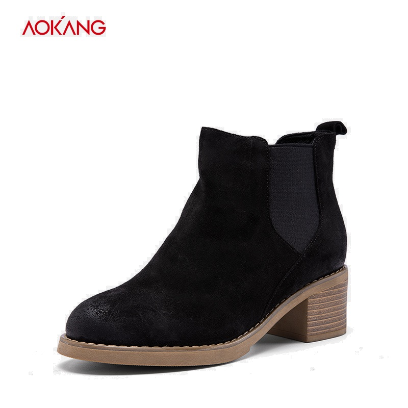 AOKANG 2018 Autumn Winter Female Chelsea Boots Women Slip-on Waterproof Ankle Shoes Boots Women Black Brown Cow Suede shoes martine women ankle boots flat with chelsea boots for ladies spring and autumn female suede leather slip on fashion boots