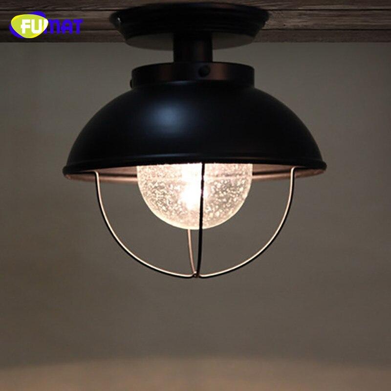 FUMAT стеклянный потолочный светильник, скандинавский балкон, потолочный светильник для крыльца, прохода, гардеробный светильник, черный, для... - 2