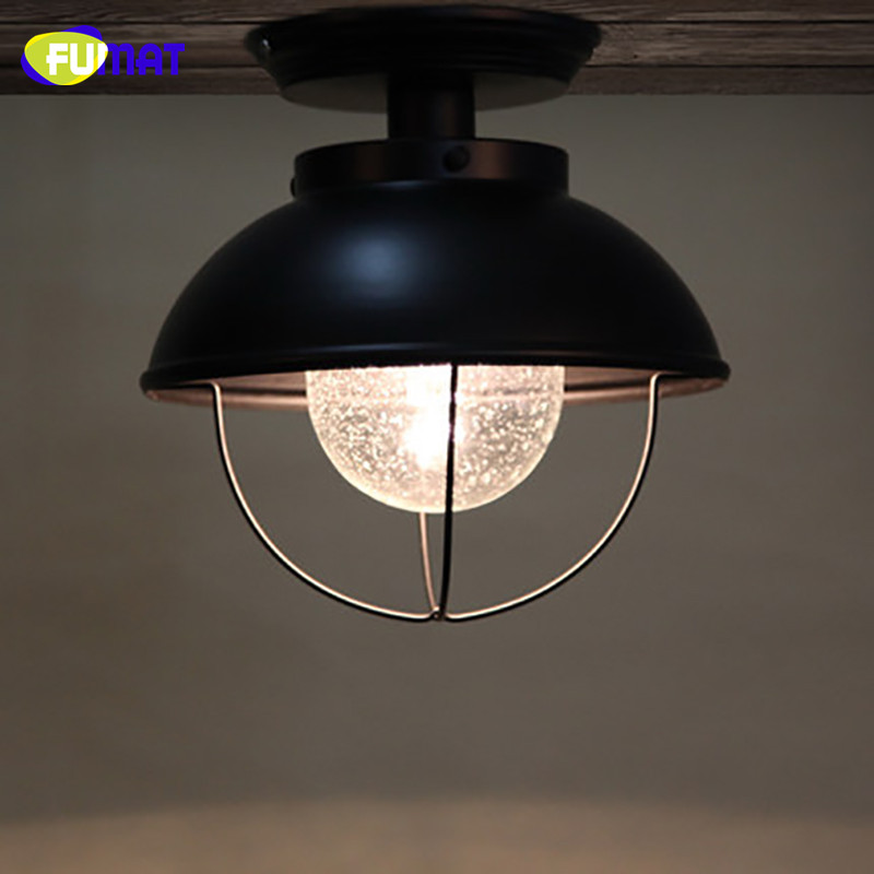 FUMAT Snow Glass Ceiling Light Nordic Balcony Ceiling Lamp Porch Aisle Cloakroom Lighting Black Bathroom Kitchen Ceiling Lights - 2