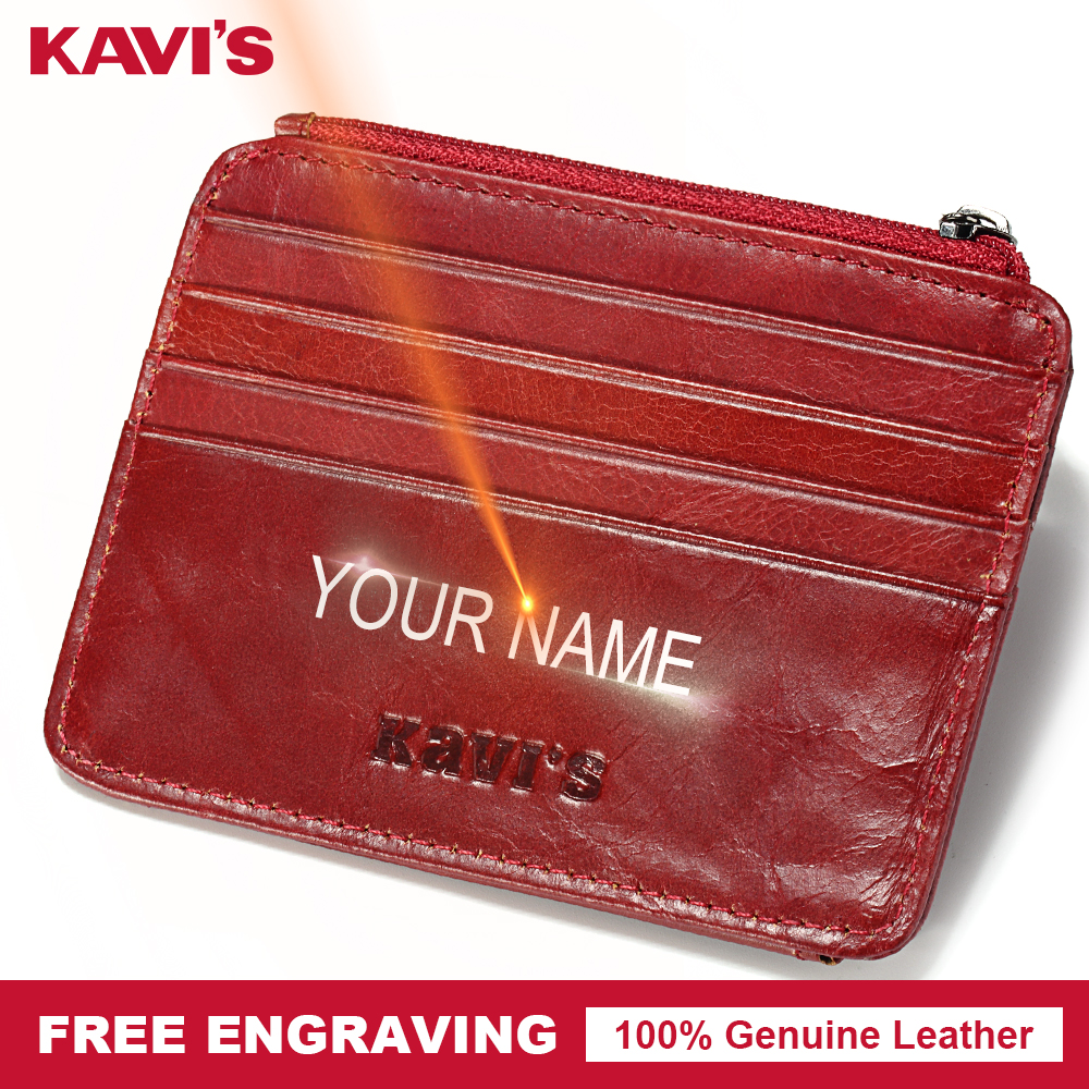 KAVIS Free Engraving Slim Small Red Genuine Leather Zipper Card Holder Hasp Gift Women ID Card Wallets Car Case Thin Mini Lady