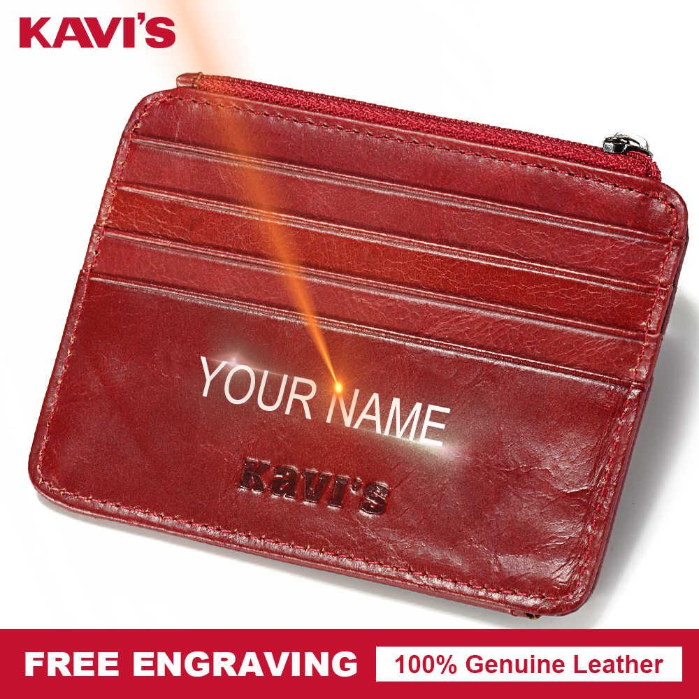9bf638fa7e05 KAVIS Free Engraving Genuine Leather Card Holder Multifunctional ...
