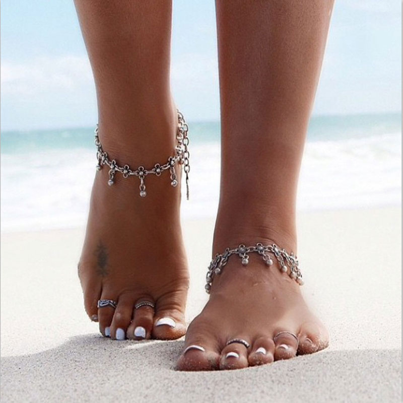 KMVEXO 2019 Summer Style Bohemian Gypsy Turkish Tribal Boho Silver color Coin Anklet Ankle Bracelet Boho Foot Jewelry
