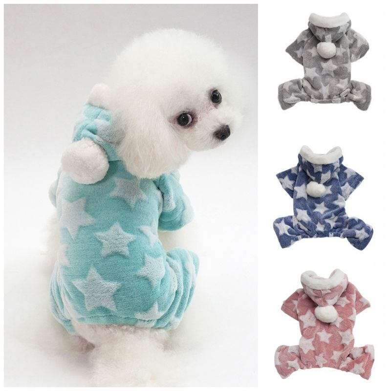 Pet Dog Pajamas Jumpsuit Autumn Winter Dog Clothes Fleece Four Legs Warm Pet Clothing Outfit Small Dog Costume Apparel Home & Garden
