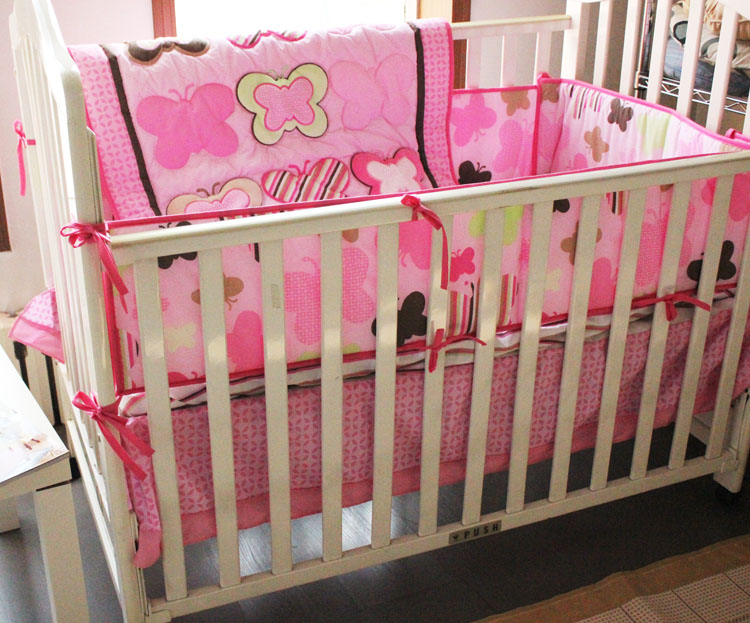 Promotion! 4PCS embroidery Cotton crib baby bedding set Quilt Cover Baby Bed Sheet ,include(bumper+duvet+bed cover+bed skirt)