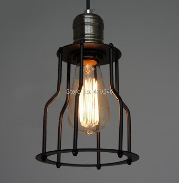 ФОТО RH LOFT SINGLE Cage Droplight  Wrought Iron Edison  Vintage Ceiling Pendant Lamp