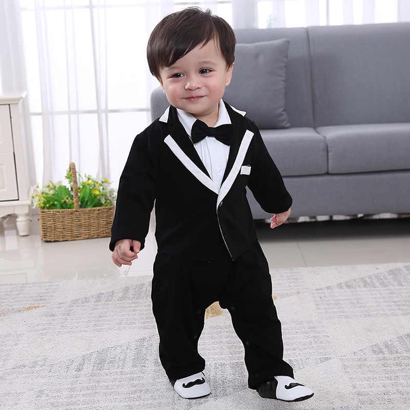 efcd3952f9bd4 Baby Boy Gentlemen Jumpsuit Toddler Long Sleeves Bow Tie Party Wedding  Birthday Costume Black Dress Baby
