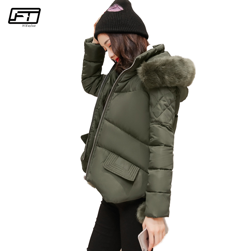 Fitaylor 2017 Autumn Winter Fashion Womens Down Jackets Short Paragraph Hooded Fur Parka Mujer Keep Warm Cotton Jacket Coat цены онлайн
