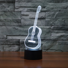 Creative 3D Visual Ukulele guitar Model Illusion Lamp LED 7 Color changing Novelty Bedroom Night Light Music Home decor IY803358