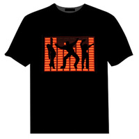 Sound Activated Dance EL Tshirt Light Up And Down Flashing Equalizer Music Activated LED T Shirt