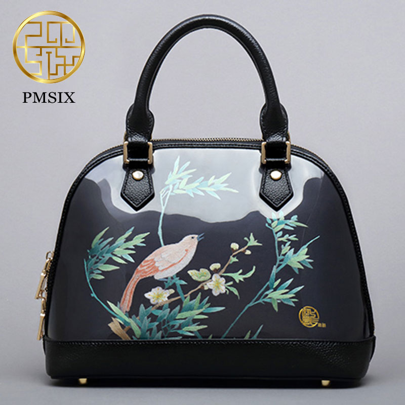 Art fashion Suzhou embroidery bag women 2017 Pmsix new retro shell handbag zipper shoulder bags black/red P120149 suzhou hand embroidery sided embroidery chinese style embroidery fan series of paintings decorative painting features
