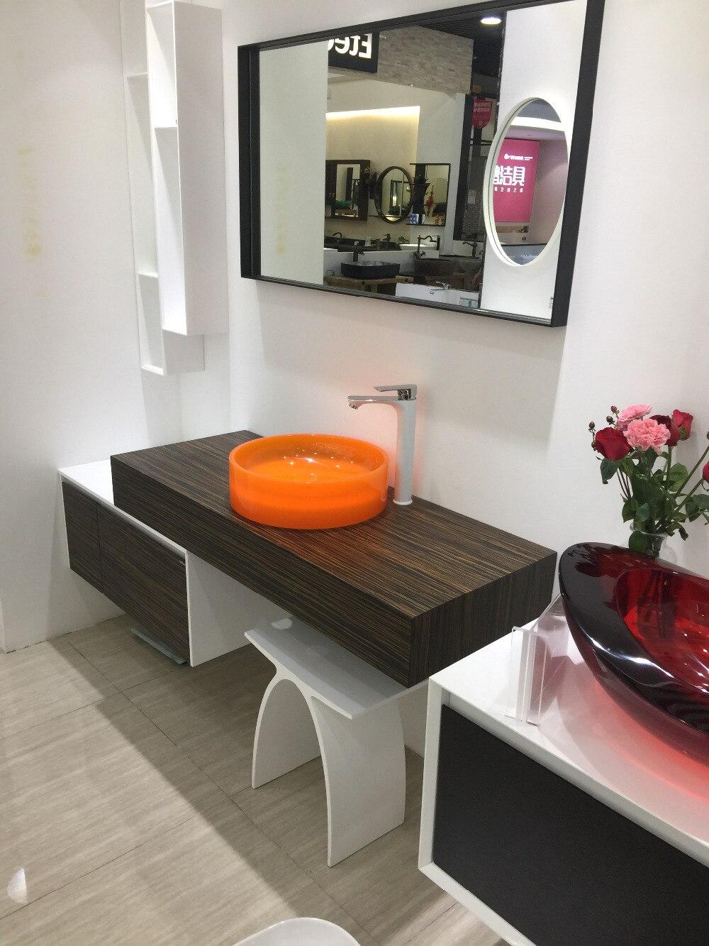 Bathroom Round Resin Counter Top Orange Sink Vessel Cloakroom