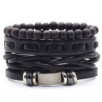 Infinity Black Beads Charm Link Alloy Handmade Woven Men Leather Bracelets Women Vintage Bangle Male Jewelry Accessories 3