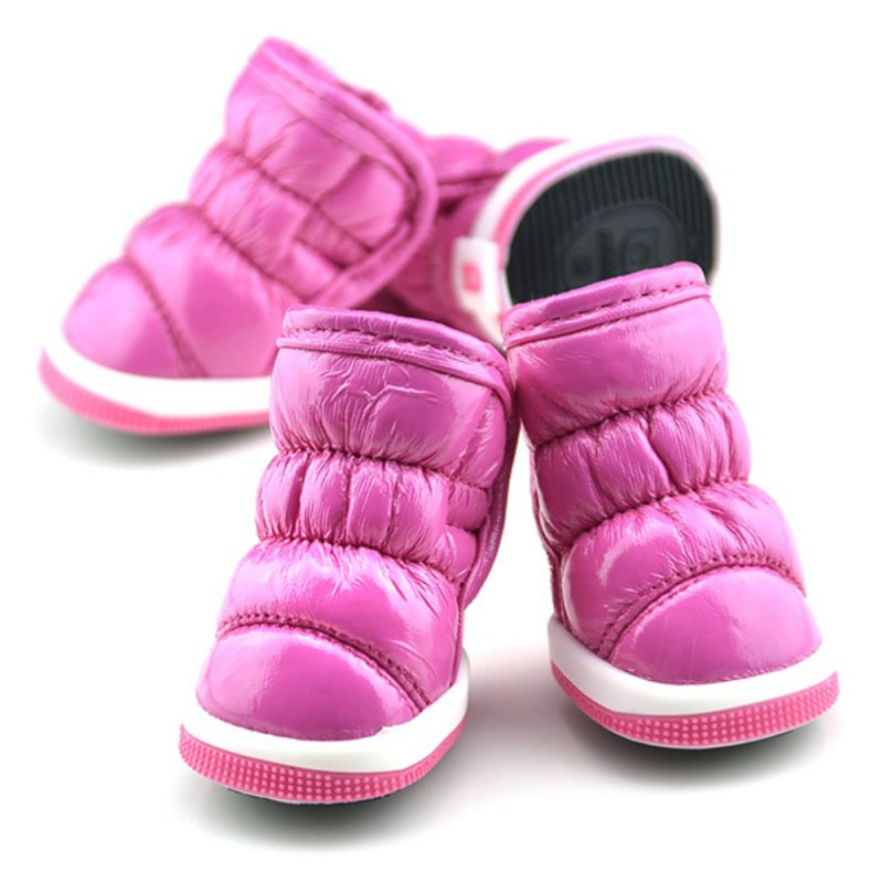 Small Dogs Shoes Trendy Winter Ruffle Soft Pu Leather Pet