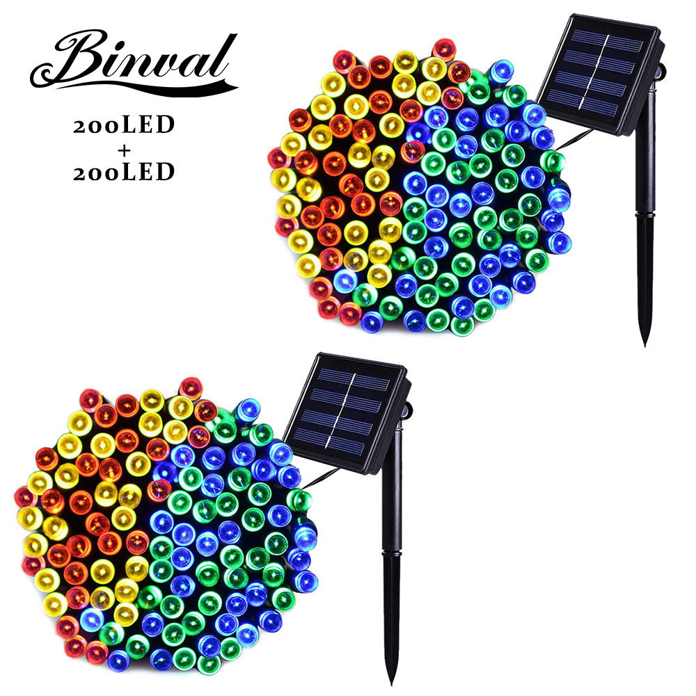 Binval Solar Plastic Led Bulbs Garden Christmas Fairy Lights Decoration Holiday Mariage Lighting Led Decoration 200 Lights