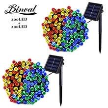 Binval Solar Plastic Led Bulbs Garden Christmas Fairy Lights Decoration Holiday Mariage Lighting 200